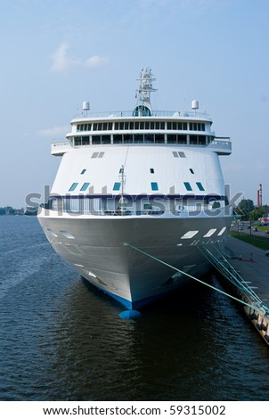 Big cruise ship front view - stock photo