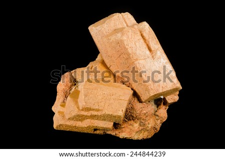Big crystal of mineral microcline (K-feldspar) from pegmatite - stock photo