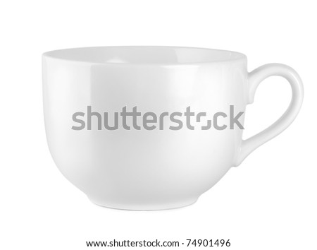Big cup white isolated on white background. Path - stock photo
