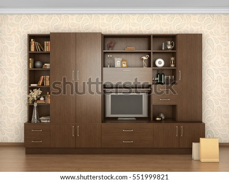 big cupboard closed in interior with things; 3d illustration