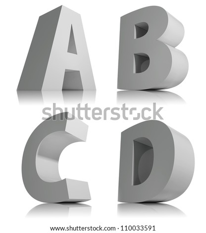 big 3 d letters isolated on white stock illustration 110033591