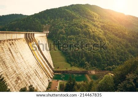 Big dam in beautiful landscape - stock photo