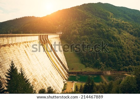 Big dam in beautiful landscape - stock photo