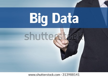 Big Data Business woman pointing at word for business background concept - stock photo