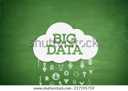 Big data cloud concept on black blackboard - stock photo