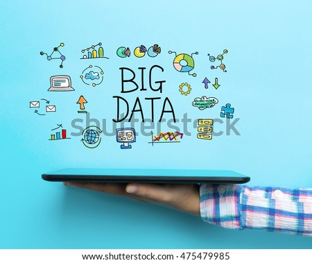 Big Data concept with a tablet on blue background