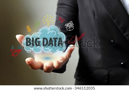 BIG DATA concept with icons on hand , business concept , business idea - stock photo