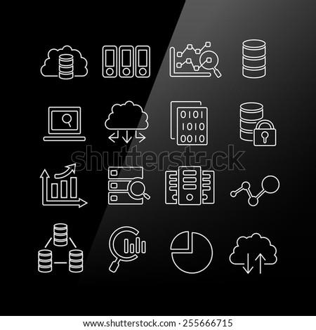 Big Data icon set - Linear Series - stock photo