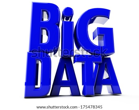 Big DATA in big blue letters over white Background - stock photo