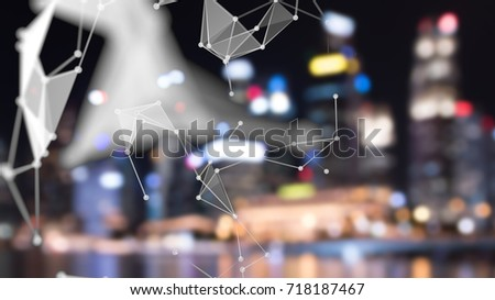 Big data , iot , artificial intelligence (ai) technology every where , smart city technology concept. Neural networks connect atoms and blur night bokeh light building. 3d Rendering.