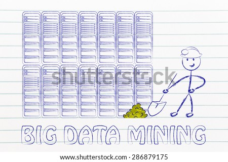 big data mining: metaphor of man extracting gold nuggets in a server room, symbol of valuable data