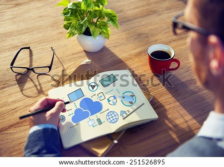 Big Data Sharing Online Global Communication Cloud Concept - stock photo