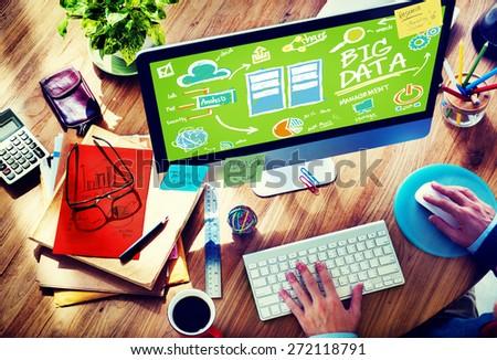 Big Data Storage Online Technology Database Concept - stock photo