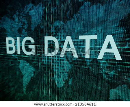 Big Data text concept on green digital world map background  - stock photo