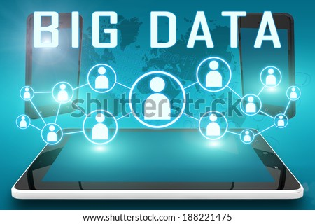 Big Data - text illustration with social icons and tablet computer and mobile cellphones on cyan digital world map background - stock photo