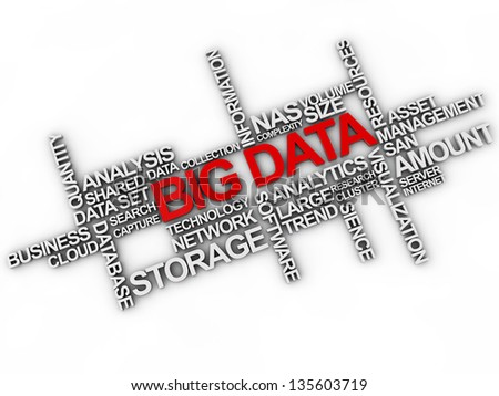 big data word cloud over white background - stock photo
