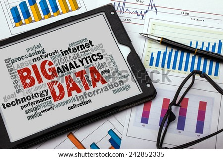 big data word cloud with related tags - stock photo