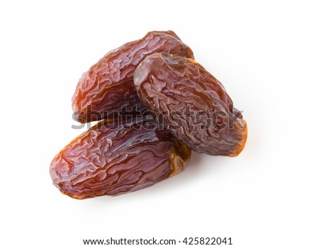 Big dates isolated on white background. Top vew. - stock photo