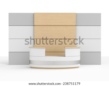 big desk or counter with wooden wall - stock photo