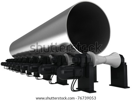 Big-diameter pipe 3d render isolated on white