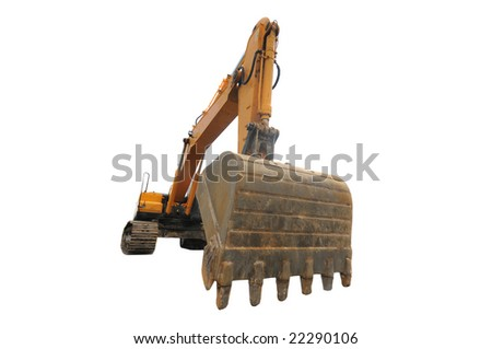 Big digger isolated on white - stock photo