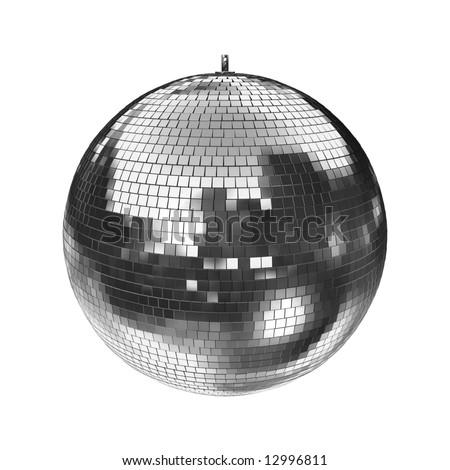 big disco mirrorball on white, easy to isolate. check my portfolio for more mirrorballs! - stock photo