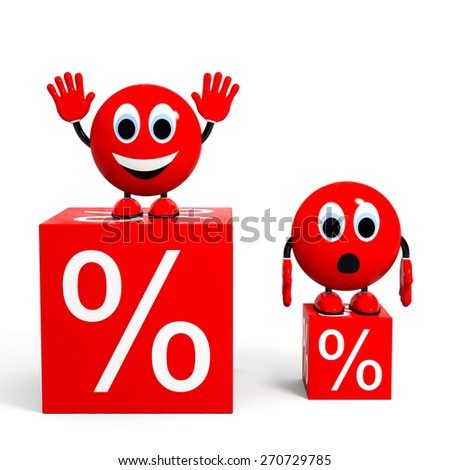 Big discount. Illustration with 3d character. - stock photo