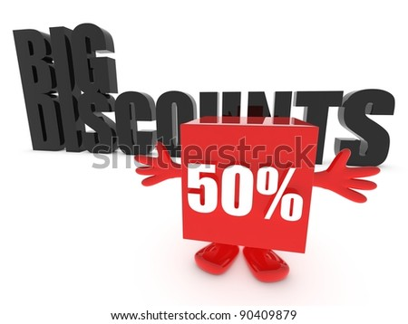 Big discounts - up to 50 percent off - stock photo