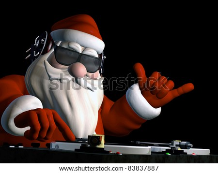 Big DJ SC is in Da House and mixing up some Christmas cheer.  Turntables with vinyl albums. Isolated on a black background. - stock photo