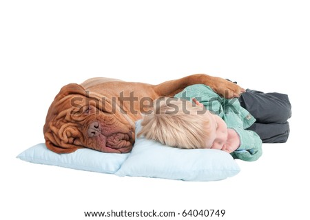 Big dogue de bordeaux and small boy sleeping on the floor - stock photo