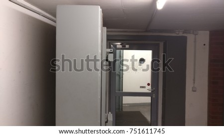 big door inside a parking lot that acts like a bomb shelter & Bomb Shelter Stock Images Royalty-Free Images u0026 Vectors ... pezcame.com