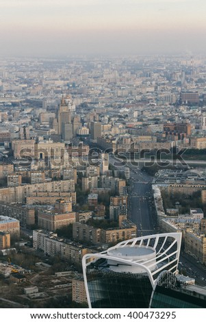 Big Dorogomilovskaya Street, Borodinsky Bridge in Moscow, Russia, top view - stock photo