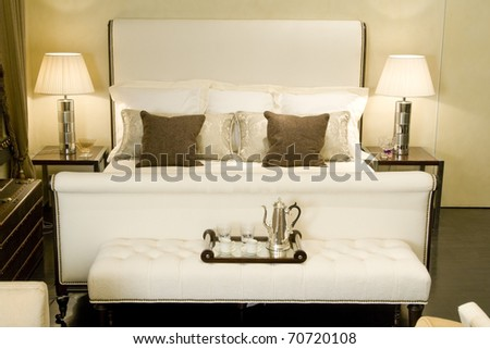 big double bed - stock photo
