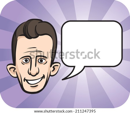 Big eared face with speech bubble - stock photo