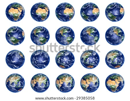 Big Earth Globes collection on white, high res pictures