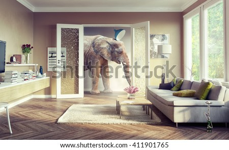 Big elephant, walking in the apartment rooms. 3d illustration concept - stock photo