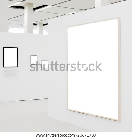 Big empty frame on white wall exhibition and some small - stock photo