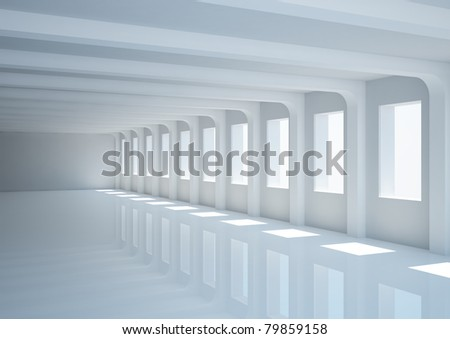 big empty hall with columns - 3d illustration