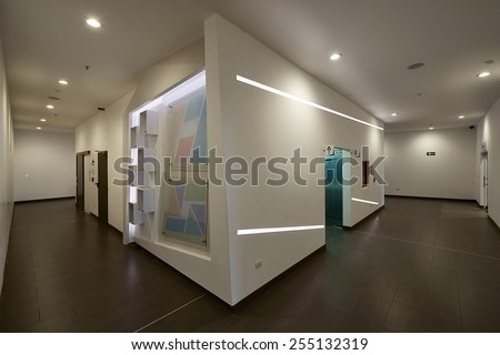 Big empty office hall - stock photo