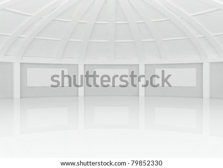 big empty round hall with columns and frames - 3d illustration - stock photo