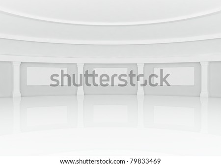 big empty round hall with columns frames - 3d illustration