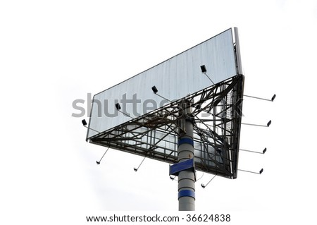 big empty triangle metal billboard, isolated on white background, low-angle view - stock photo
