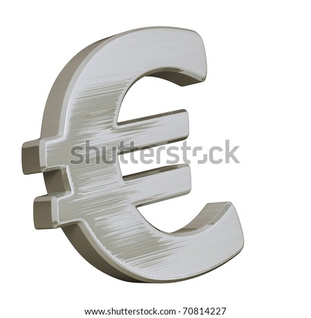 Big Euro symbol with a brushed metallic effect and shiny aspect