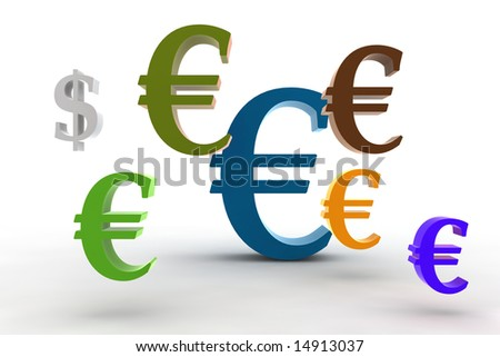 big euro symbol with little dollar - 3d isolated illustration