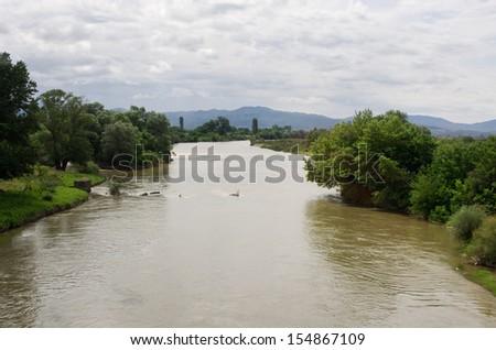 Big European river during the flood - stock photo