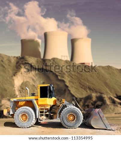 Big excavator in industrial landscape. Environmental concept. - stock photo