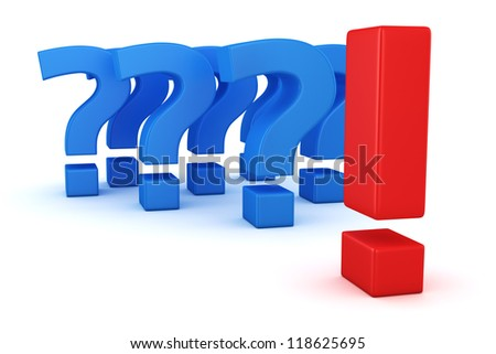 Big exclamation mark against group of question marks - stock photo