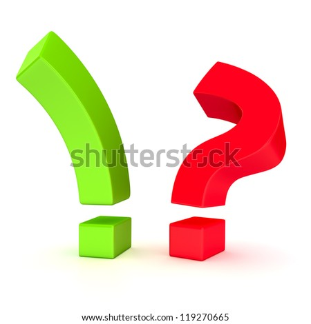 Big exclamation mark and question mark in opposition on the white background - stock photo