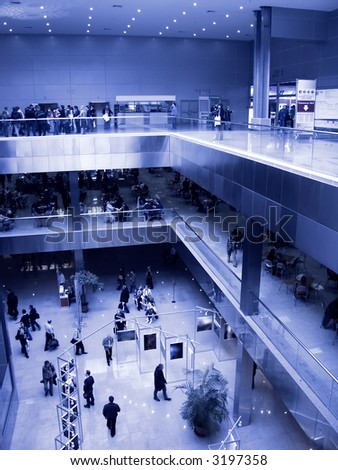Big exhibition center. Specially with high contrast and blue tint. - stock photo