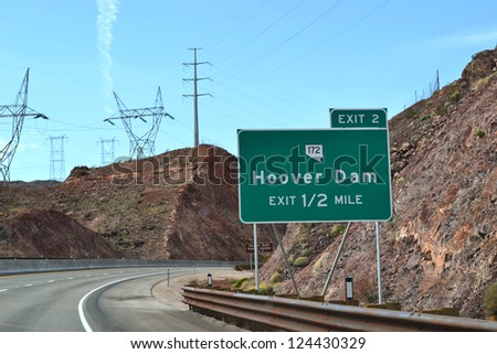Big exit sign to Hoover Dam. USA - stock photo